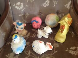 Vintage 7 Squeak Toy Lot Fish Edward Mobley,easter Egg,cat, Dog,ball And Shoe