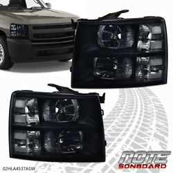 For 2007-2014 Chevy Silverado Direct Replacement Driving Head Lights Lamps Black