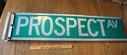 Vintage Prospect Ave Metal Transportation Street Road Sign Green And White 36x9