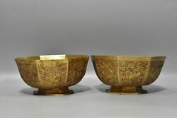 6.1 Chinese Old Dynasty Bronze 24k Gilt A Pair Exquisite Phoenix Flower Bowl