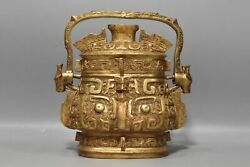 10.2 Chinese Old Xi Zhou Dynasty Bronze 24k Gilt Exquisite Double Ear Teapots