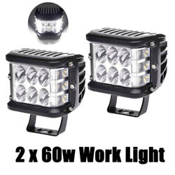 2x 3 Side Shooter Car Led Work Light Lamps 4inch 60w Offroad Boat Truck Suv Atv