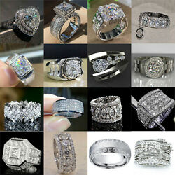 Fashion 925 Silver Wedding Rings Women Jewelry White Sapphire Ring Gift Size6 10 $3.28