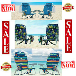 Tommy Bahama Backpack Beach Cooler Folding Chair w Pouch amp; Towel Bar 2 PACK $159.99