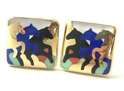 Rare Asch Grossbardt Galloping Horses Earrings In 14k Yellow Gold And Inlay Gems