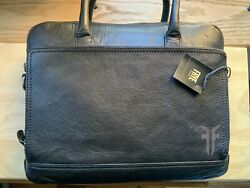 NEW FRYE Leather Messenger Laptop Work Bag Etched Attache $229.00