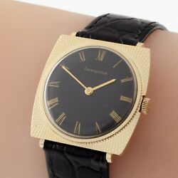 Longines 14k Yellow Gold Menand039s Hand-winding Watch W/ Black Leather Band