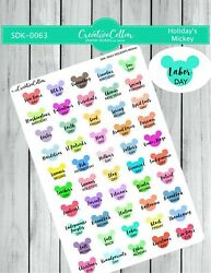 SDK 0063 Planner Stickers 50 Holidays of the year Mickey Disney for any planner $3.75
