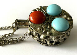 Vintage Silver Plated Perfume Or Poison Bottle Blue And Red Stone Necklace Chain