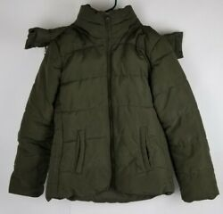Old Navy   Army Green Puffer Jacket W/ Fur Trimmed Hood Womens L