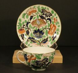 Old Coalport Period 1830 Tea Cup And Saucer Jade Pattern Bone China Blue And Gold