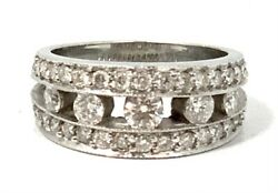 Modern Wide 18k White Gold House Of Baguettes Hob Diamond Band W/ 1.61 Cts