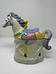Carousel Horse Large Ceramic Cookie Jar Rare Vintage Hearth And Home 1991 Perfect