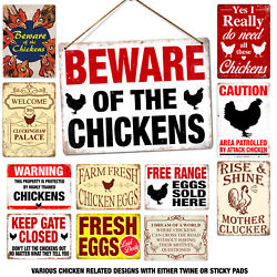 Beware Rooster Metal Tin Signs Fresh Egg Owner Agricultural Farm Wall Plaques