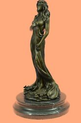 Real Bronze Metal Statue Marble Base Mother Nature Goddess Love Great Gift Art
