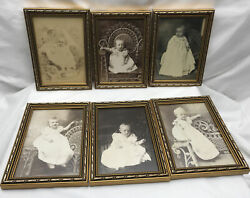 Lot Of 6 Baby Photos Dresses Black White Gold Frames Identified On Back 1800s A7