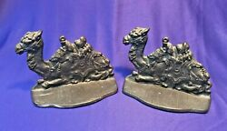 Egyptian Camel Vntg Cast Iron Metal Figural Bookends Connecticut Foundry C1928