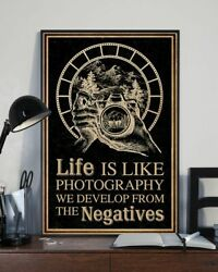 Life Is Like Photography Retro Black Poster Print 24x36 Inches Wall Art Vintage