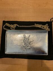 New 100% Authentic With Tags YSL Yves Saint Laurent Silver Bag With Gold Chain $850.00