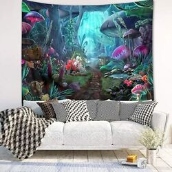 Psychedelic Magic Mushroom Forest Tapestry Fairy Tale Jungle Hippie Wall Hanging