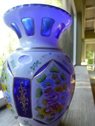 bohemian white cased cut to cobalt vase hand painted