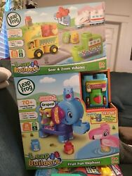 2 Leap Frog Leap Builders Soar And Zoom Vehicles And Fruit Fun Elephant New 2+