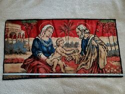 Vintage Italian Tapestry of the Holy Family Mary Jesus Joseph Rug Wall Hanging