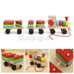 Colorful Early Learning Educational Puzzle Wooden Building Block Train Toy Kids