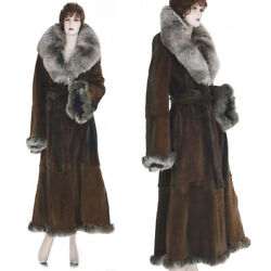 26k S-m New Made In Italy Super Lux Glam Sheared Mink W/fox Fur Long Coat