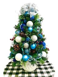 Blue And White Tabletop Tree Christmas Prelit 24 White Lights