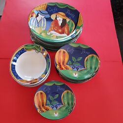 Lot Of 28 Discontinued Sango Cafe Paris Plates 4914 Free Shipping