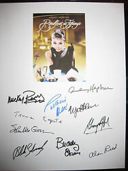 Breakfast At And039s Signed Script X10 Audrey Hepburn Mickey Rooney Reprint