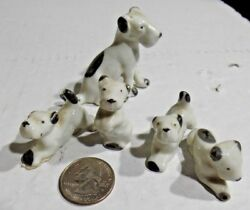 Mother Wire Haired Fox Terrier with 4 pups porcelain Vintage Japan Porcelain