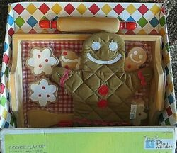 Play Wonder Pretend Food Wooden 10 Pc Christmas Gingerbread Cookie Tray Set Lot