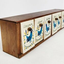 Vintage 1952+ S Blue Bird Spice Drawer Hand Painted Six Drawers Giftwood Made In