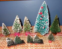 10 Vintage Green Bottle Brush Spruce Christmas Trees 1 3/4 Up To 6 Inches Tall