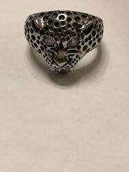 Vintage Panther Ring with Rhinestone Eyes Nose and CZ Mouth 316 l S.Steel