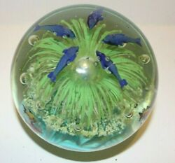Murano Inspired Big 6 Design 5 Dolphins In Seaworld Of Bubbles Paperweight