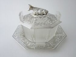 Antique Victorian Sterling Silver And Glass Butter Dish - 1852 By Henry Wilkinson