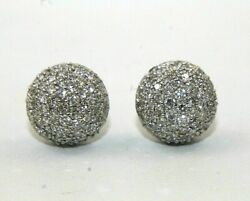 Natural Round Diamond Cluster Stud Ladyand039s Earrings 14k White Gold 2.00ct