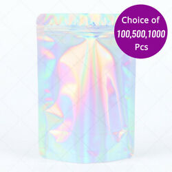 7.75x11.75in Glossy Holographic Silver Foil Mylar Standup Zip Lock Bag W/machine