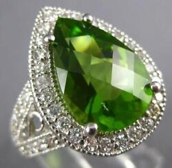 Extra Large 7.34ct Diamond And Peridot 18kt White Gold Pear Shape Engagement Ring