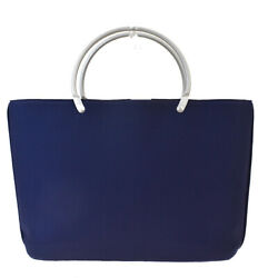 Authentic Cc Logo Hand Tote Bag Nylon Leather Navy Blue Vintage 35md795
