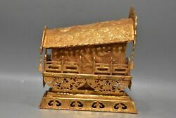 7.9 Chinese Antique Old Liao Dynasty Bronze 24k Gilt Dragon Coffin Statue
