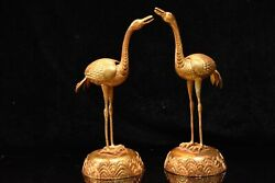 13.2 Chinese Old Antique Bronze 24k Gilt A Pair Exquisite Crane Statues
