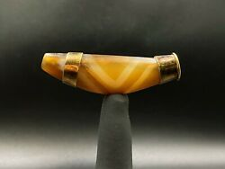Antique Old Himalayan Tibetan Curved Or Horn Shape Chung Dzi Bead Agate Amulet