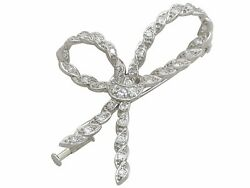Antique French 0.97 Ct Diamond And 18k White Gold Bow Brooch 1930s