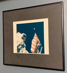 Nasa Apollo 17 Type I Photograph Flag And Earth. Exceptional Investment Piece