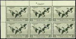Us. Rw3 Federal Duck Stamp Plate Block Of 6 - Ognh - Xf Cv 3500.00 Esp88-3