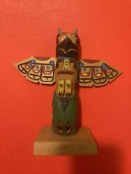 Totem Pole Carving First Nations Thunderbird Frog Hand Carved Cedar Painted